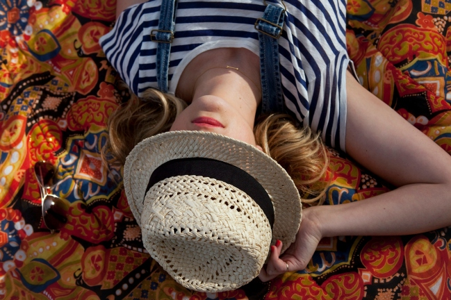 Asleep under the panama hat
